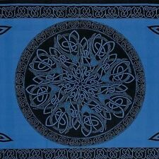 Handmade 100% Cotton Celtic Circle Wheel Of Life Tapestry Spread Twin Blue