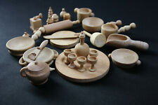 Lotto 26 accessori casa di bambola vintage in legno - ottime condizioni