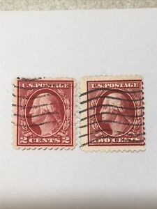 Original George Washington Two Cent Stamp Used Rare Deep Red 2 Cents Set / Two!