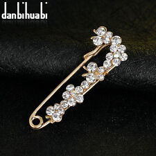 Elegant Females Wedding Bridal KC Gold Plated Rhinestones Brooch Pin Jewelry