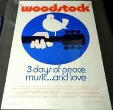 WOODSTOCK ORIGINAL ROLLED 27X41 MOVIE POSTER 1970 RARE STYLE C PEACE MUSIC LOVE