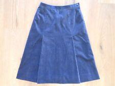 Jaeger Dark Blue 'Velvet feel' Skirt Women's UK 8 A line Lined Pleats Vintage?