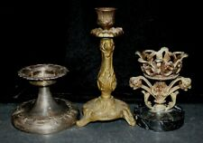 "Lot of (3) ornate tabletop candle holders 3 1/2"" 5"" 8"""