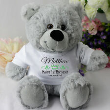 1st Birthday Personalised Teddy Bear - Grey