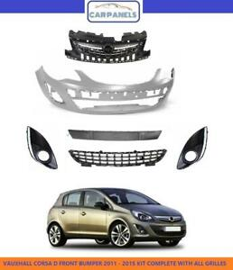 VAUXHALL CORSA D FRONT BUMPER 2011 - 2015 KIT COMPLETE WITH ALL GRILLES NEW