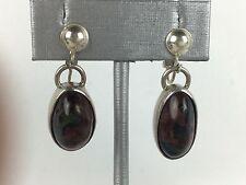 Superb Vintage Southwestern Onyx Silver Earrings Native American [Y8-W6-A9]