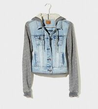American Eagle Outfitters Denim Vested Knit Sleeve Hoodie Jacket Sz Small