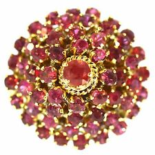 3 CT FINE RUBY RING 18K YELLOW GOLD ESTATE NATURAL RED ROUND CUT PRINCESS RING