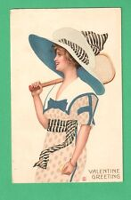 VINTAGE TUCK POSTER GIRL VALENTINE POSTCARD BEAUTIFUL LADY BONNET TENNIS RACKET