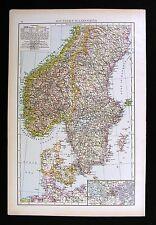 1896 Times Atlas Map Sweden Norway Denmark Scandinavia Oslo Stokholm Copenhagan