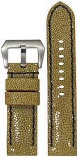 24mm Panatime Handmade Light Brown Polished Stingray Watch Band w BS 24/24