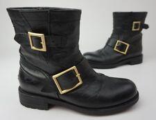 Jimmy Choo Youth Leather Short Biker Boots Black Size 35
