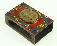 ! Antique Chinese Cloissone Enamel & Carved Jade Brass Match Box Holder Striker