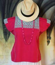 M/L Mexican Huipil Blouse Aqua & Raspberry Hand Woven Mayan Fiesta Gypsy Hippie