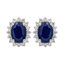 White Gold Genuine Oval Sapphire and 1/4ct Diamond Halo Earrings