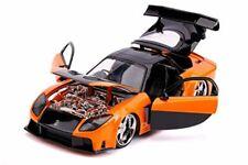 Fast & Furious Movie Han's Mazda Rx-7 Orange and Black 1:24 Car scale By jada