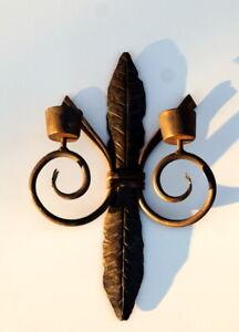 schwerer Wandkerzenhalter 2 flmg. Leuchter 40x25 cm Eisen handgeschmiedet 1530 g
