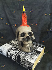 Halloween Skull w/ Flickering LED CANDLE & Gothic Fabric Covered Spell Book Box