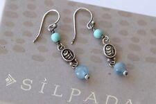 Silpada Sterling Silver Blue Green Howlite Kyanite Three Bead Earrings W1680
