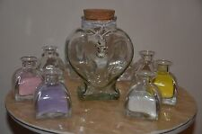 LARGE FAMILY SAND CEREMONY SET ~ GLASS HEART JAR & 10 SMALL PYRAMID POURERS