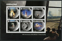 Gibraltar Stamps 2019 MNH Moon Landing Apollo 11 50th Anniv Space 6v M/S