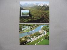 LIECHTENSTEIN, 2x maximumcard maxi card 2006, landscape river Rhine canal