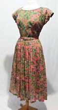 Vintage 50s 60s Dress w Bolero Floral Print