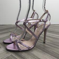 SJP Pink Metallic Strappy High Heel Sandal Size 37 Sexy, MSRP $345.00
