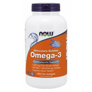 Now Foods Omega-3 Molecularly Distilled - 200 Fish Softgels FRESH, FREE SHIPPING