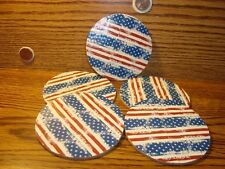 """#5 U.S.A. FLAG DUCKTAPE design & Natural Cork Drink Coasters Placemats 3.5"""" in"""