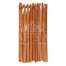 Uncinetto ganci LISCIO 12 misure 3mm-10mm Manico di Bambù Uncinetto strumenti di lavoro a maglia fai da te