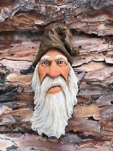 Wood Spirit Carving Wizard Sorcerer Brown Hat Elf Ooak Scott Longpre Originals
