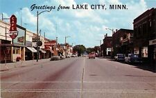 Lake City Minnesota~Hwy 61~Cafe Silver Sail~Grocery Pepsi Cap Sign~1960s Cars
