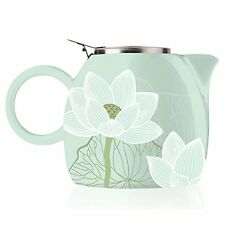 Tea Forte Teapots Pugg 24oz Ceramic With Infuser, Loose Leaf Steeping Two, Lotus