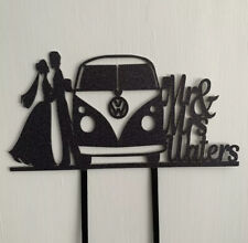 Wedding Campervan Personalised Custom Cake Topper Double Sided Colour Elegant