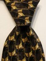 ERMENEGILDO ZEGNA Men's 100% Silk Necktie ITALY Luxury Geometric Brown/Tan EUC
