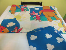 Winnie the Pooh Twin Bed Top Flat and Fitted Sheet Set Piglet Clouds