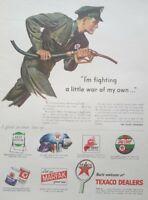 Texaco Service Station Attendant Art WW2 Petroliana 1945 Vintage Print Ad