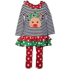NWT Baby Girl 24m BONNIE JEAN Reindeer Striped Dress & Polka Dot Leggings Set