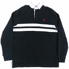 POLO RALPH LAUREN BLACK & WHITE RED PONY PADDED SHOULDERS RUGBY SHIRT EUC S