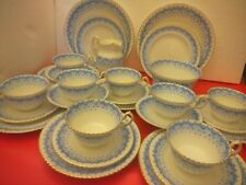 Eight (8) Antique Samuel Radford Trios 1880s - blue white and gilt - lovely cond