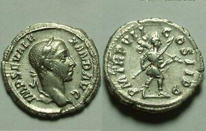 Rare Genuine ancient Roman coin Alexander Severus Silver denarius Mars trophy EF