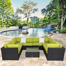 9 PC Patio Wicker Rattan Sofa Set Sectional Outdoor Furniture Deck Couch Green