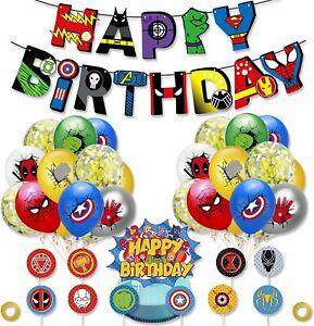 Marvel Avengers Cake Topper Banner Balloons Spiderman Batman Party Superhero Toy