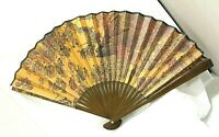 Vintage Chinese Oriental Hand Painted Folding Paper Wall Fan Both Sides Decor