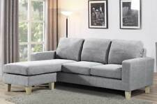 Hot Sale- L Shaped Corner Chaise Sofa Light Grey Fabric Modern Small 3 Seater