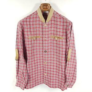 Spieth & Wensky Trachtenhemd Herren Gr. 48 Rot Weiß Kariert Leinen Leder-Besatz