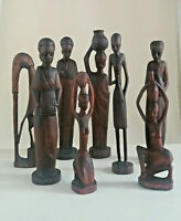 collezione di sculture etniche africane statuine vintage in legno fatte a mano