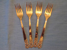 SET 4 DINNER FORKS! Vintage LIFETIME CUTLERY stainless: GOLD LCU7 pattern: EXC!