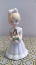 "Enesco Growing Up Birthday Girls Age 4 Porcelain 3 1/2"" Figurine"